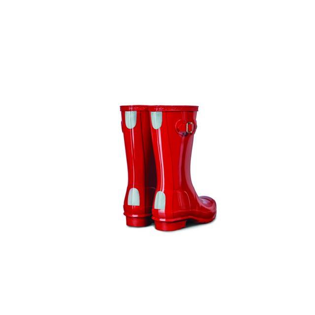 HUNTER Bottes Enfants - coloris rouge vernis - Finition pailletée - Fabrication artisanale - Imperméable - Hauteur de tige progressive pour les enfants qui grandissent - Forme ultra-confort