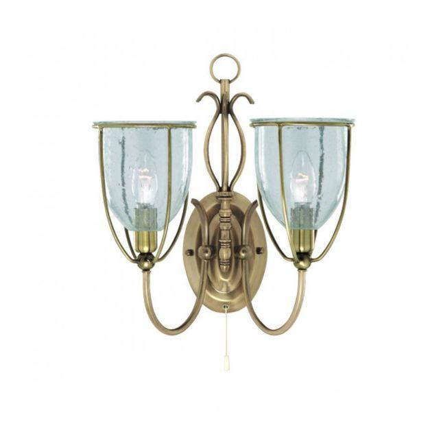 Searchlight Applique 2 ampoules Silhouette, en laiton antique et verre