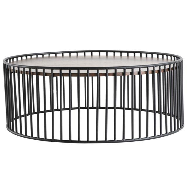 Miliboo Table basse ronde design bois foncé et métal D93 x H35 cm Harp