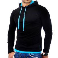 Tazzio - Sweat capuche homme Sweat 1003 noir et Turquoise