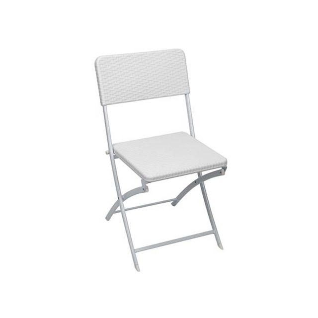 Toolland Chaise pliante intérieur et extérieur façon rotin blanc