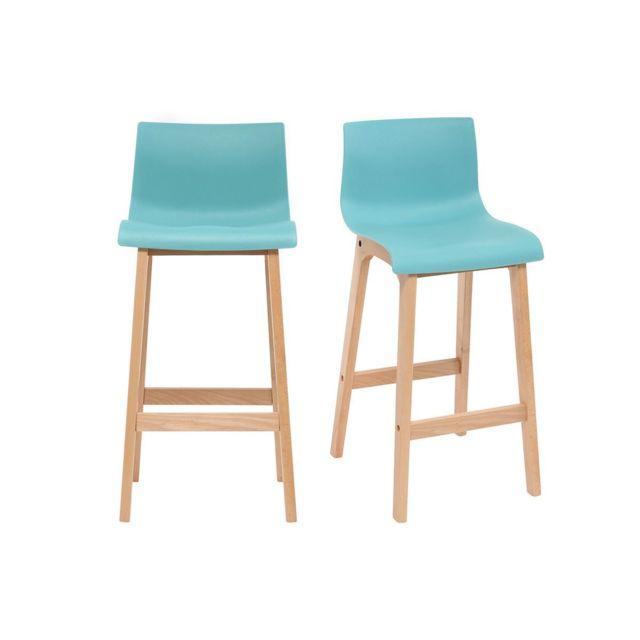 miliboo tabouret de bar design bois et turquoise 65 cm lot de 2 new surf bleu canard pas. Black Bedroom Furniture Sets. Home Design Ideas