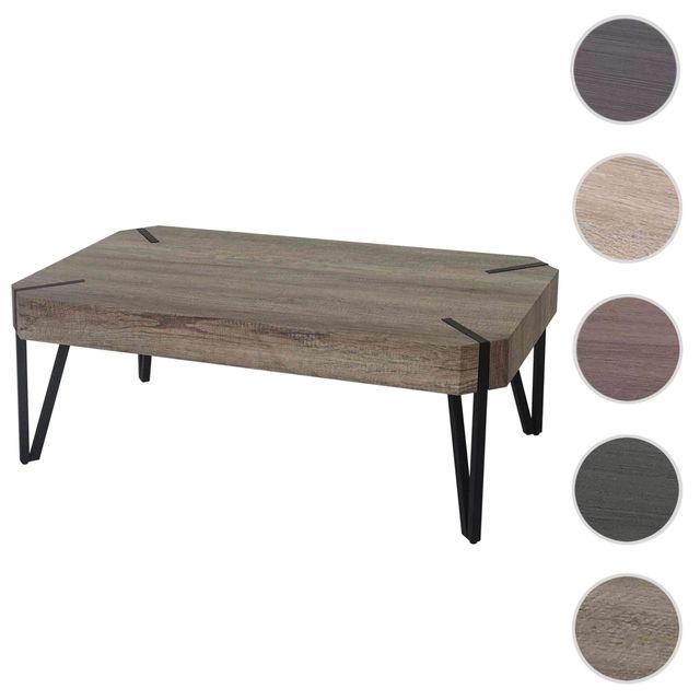 Mendler Table basse de salon Kos T573, Fsc 43x110x60cm ~ chêne sauvage, pieds métalliques foncés