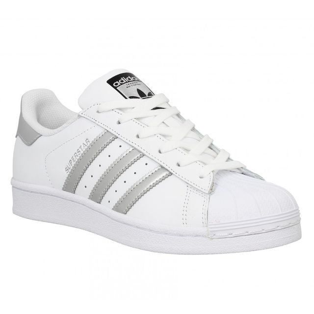 adidas superstar cuir 41 1 3 blanc argent pas cher. Black Bedroom Furniture Sets. Home Design Ideas