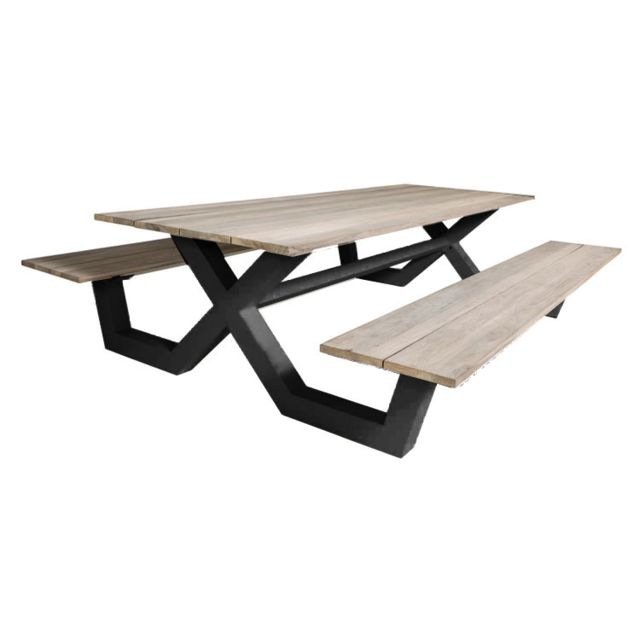 Gecko Jardin Table pique-nique alu anthracite et teck 220 x 100 cm Swindon