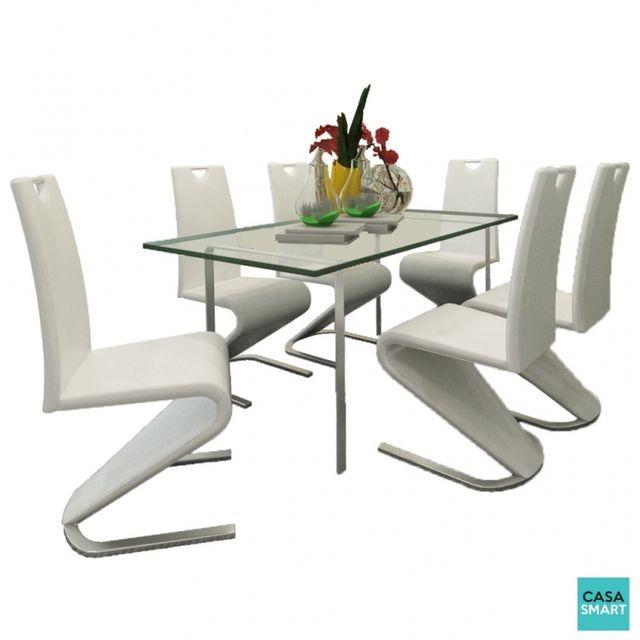 Casasmart Lot de 6 chaises modernes Ash en simili cuir blanc