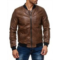 Beststyle - Blouson bombers homme camel simili cuir fashion