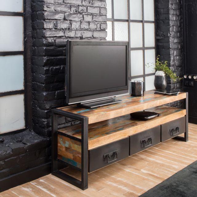 Meuble Tv Industriel 3 Tiroirs Bois Et Metal Mox12