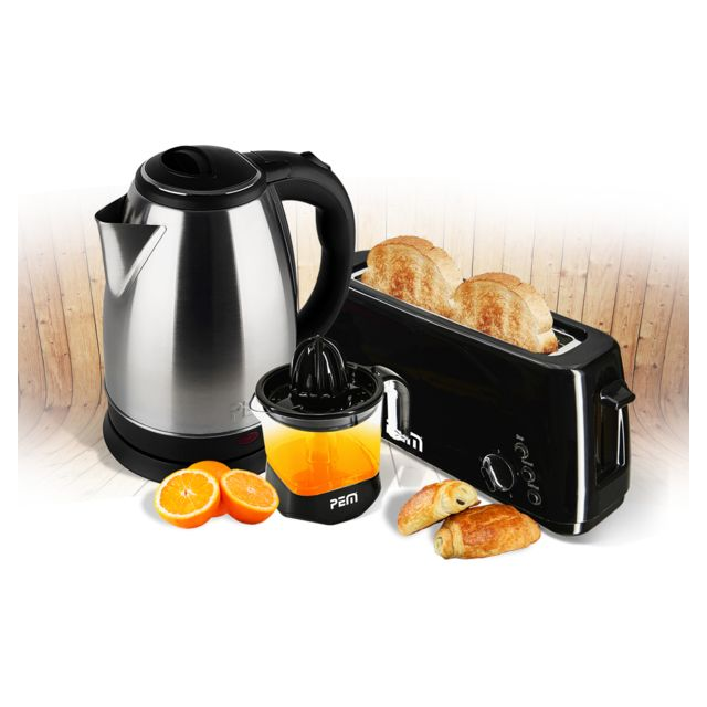 Pem Kit petit déjeuner Xxl - Bouille 1.8L + Grille pain longue fente + Presse-agrumes Xxl 1L