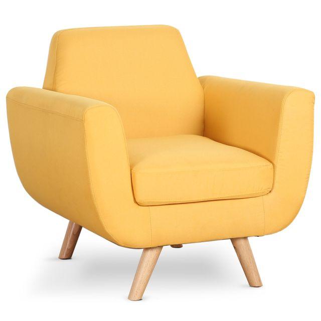 menzzo fauteuil scandinave danube tissu jaune pas cher achat vente fauteuils rueducommerce. Black Bedroom Furniture Sets. Home Design Ideas