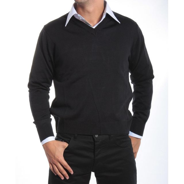 Pietro Liberti - Pull habillé Merinos Col V Marine - pas cher Achat   Vente  Pull homme - RueDuCommerce 950258a7d869