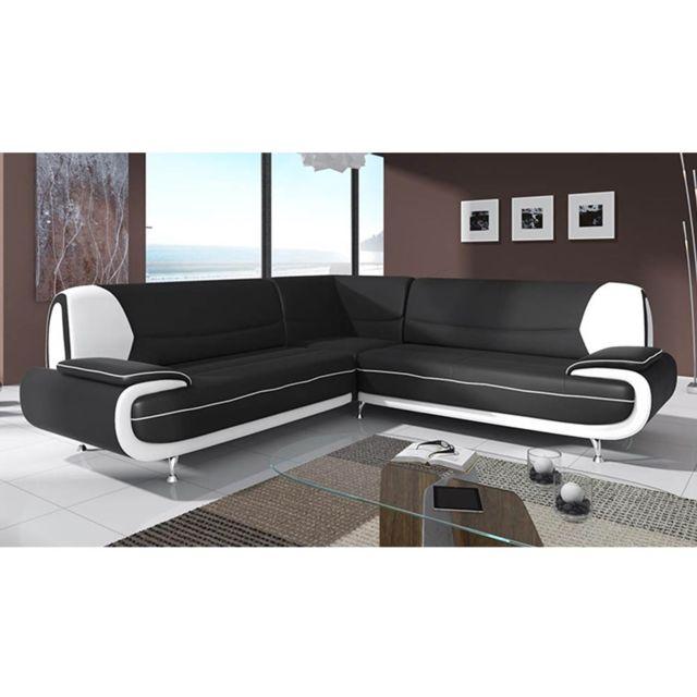 LA CHAISERIE Canapé d'angle Design Maria XL Noir et Blanc
