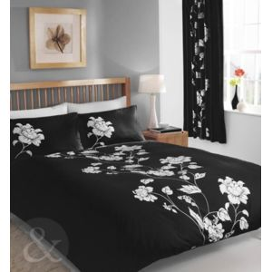 just contempo parure de lit en coton m lang motif floral king size duvet cover kingsize noir. Black Bedroom Furniture Sets. Home Design Ideas
