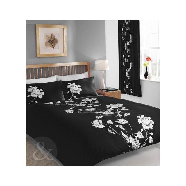 just contempo parure de lit en coton m lang motif floral king size duvet cover kingsize noir. Black Bedroom Furniture Sets. Home Design Ideas