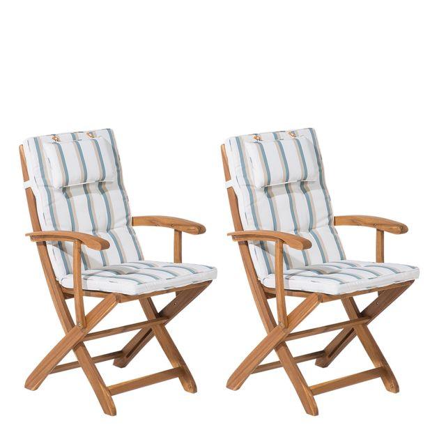 BELIANI Lot de 2 chaises en bois avec coussin à rayure beige et vert MAUI