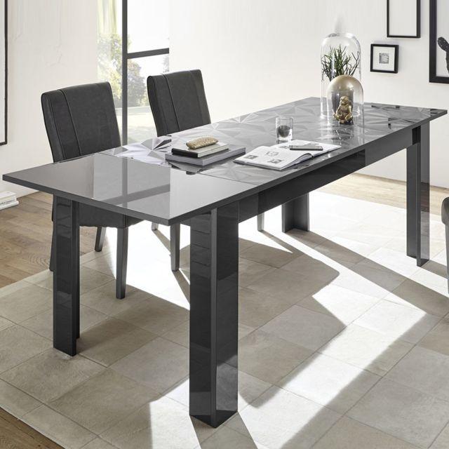 Sofamobili Table a rallonge 180 design gris laqué Antonio 3