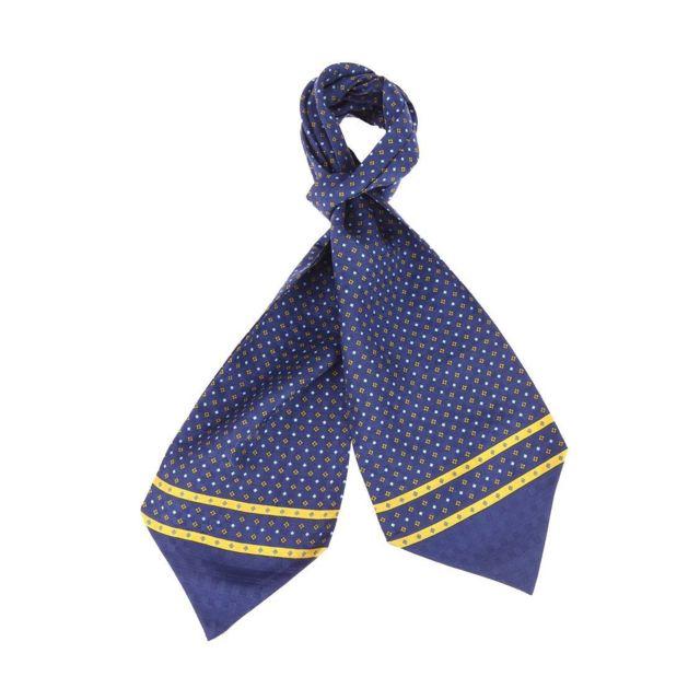 Touche Finale - Foulard Ascot à nouer en soie bleu marine à petites fleurs  et losanges - pas cher Achat   Vente Echarpes, foulards - RueDuCommerce ebe7cba6c2f