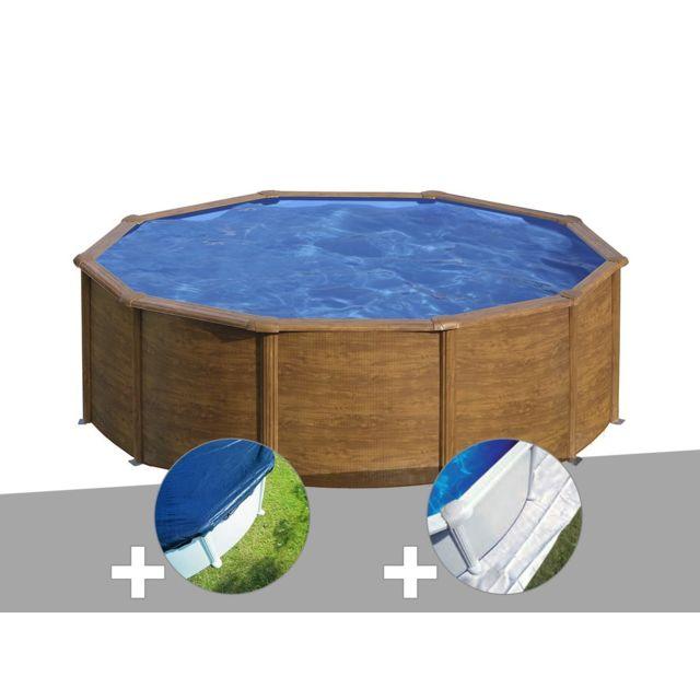 gre kit piscine acier aspect bois gr sicilia ronde 4 80. Black Bedroom Furniture Sets. Home Design Ideas