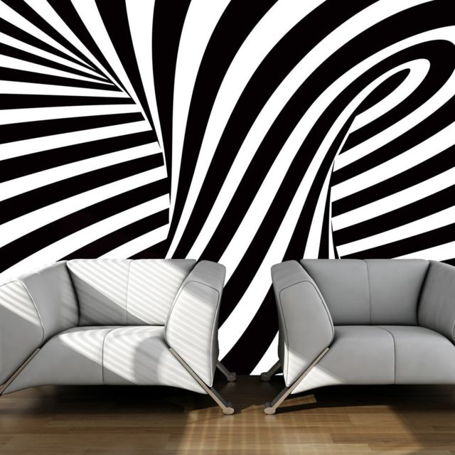 bimago makossa a1 lftnt0014 papier peint art optique noir et blanc 400x309 pas cher. Black Bedroom Furniture Sets. Home Design Ideas