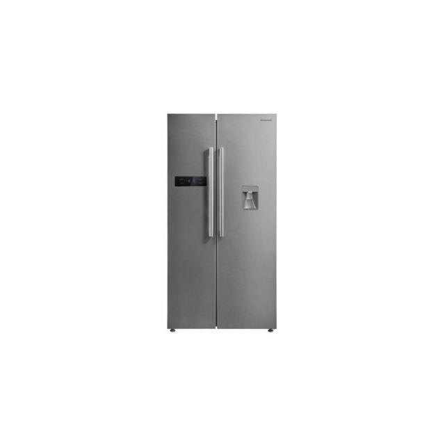 Brandt Réfrigérateur Américain 178,8x89,5x74,5 Cm 582l No Frost A+ Distributeur Inox - Bfa772znx