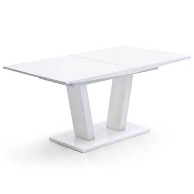 Inside 75 Table repas extensible design Flave blanc laqué mat 160 x 90 cm