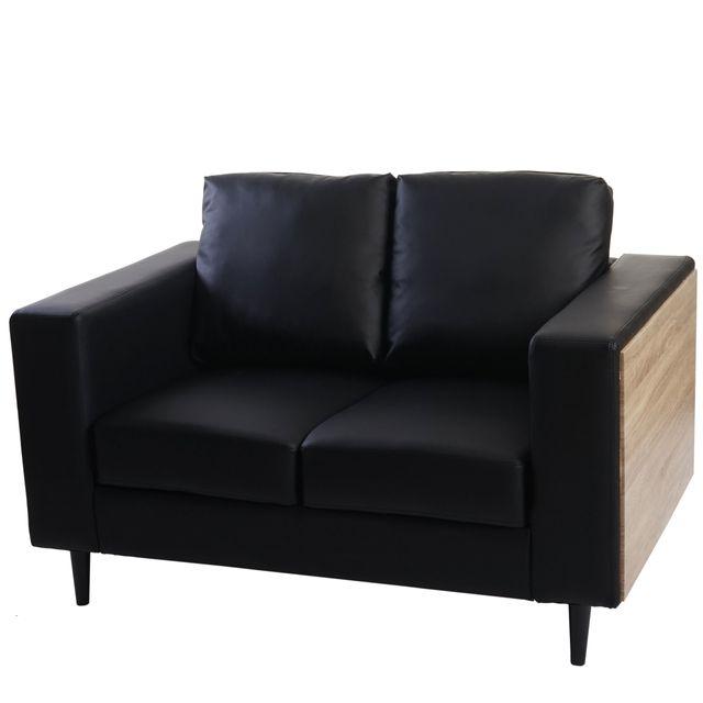 Mendler Canapés à 2 places Nancy, canapé lounge, bois, aspect chêne ~ similicuir, noir