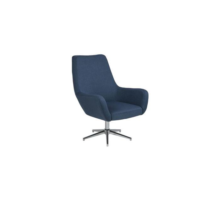 HOMIFAB Fauteuil pivotant avec assise en tissu bleu foncé - Collection Rylee