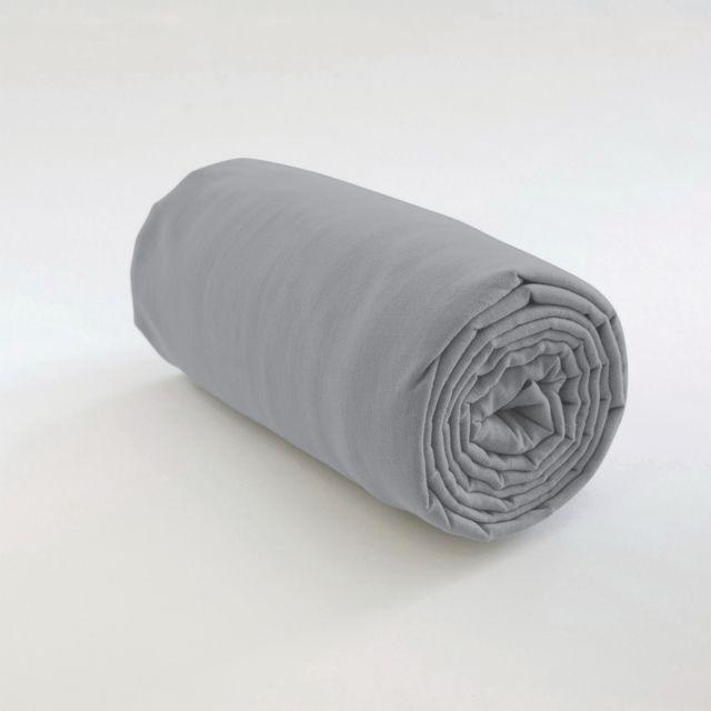 Les Ateliers Du Linge Drap housse uni Coton Gris clair 160 x 200 x 35