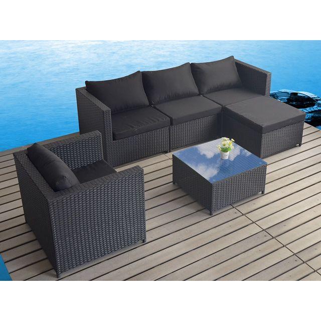 Concept Usine - Salon de jardin volupté modulable noir en ...