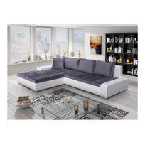 Chloe Design - Canapé d'angle convertible Orava - blanc et gris - Angle gauche