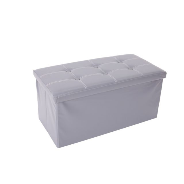 Mobili Rebecca Pouf Coffre de rangement Banc Rectangle Gris Stokage 38x76x38