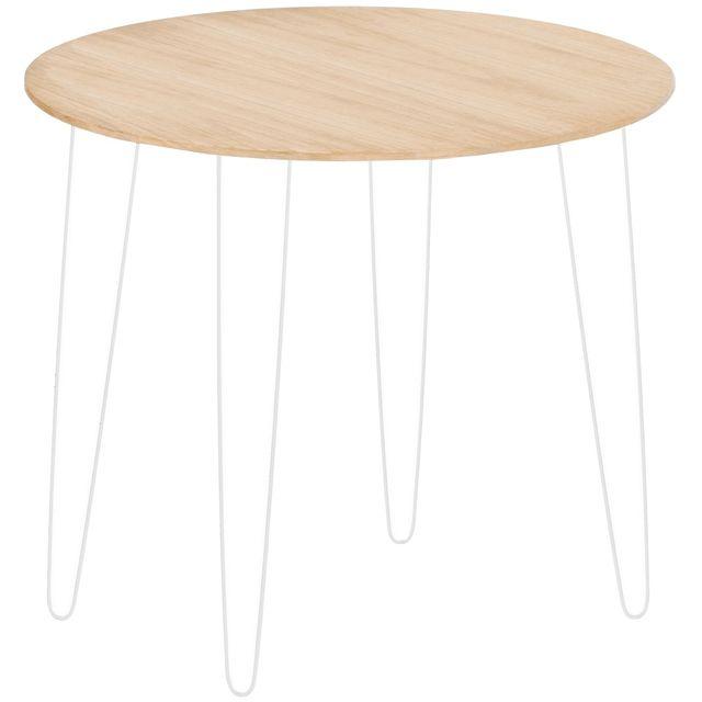 Promobo Table De Salon Chevet D'Appoint Design Scandi Plateau Bois Pieds Métal Blanc