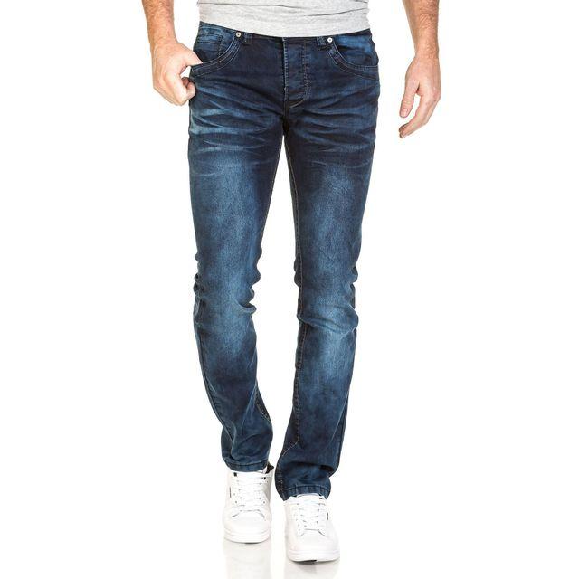 BLZ Jeans - Jean homme bleu foncé délavé coupe droite - pas cher ... 920b383be1aa