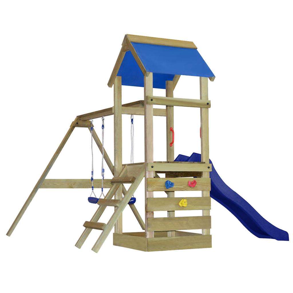 Aire de jeux avec échelle, toboggan et balançoires en bois