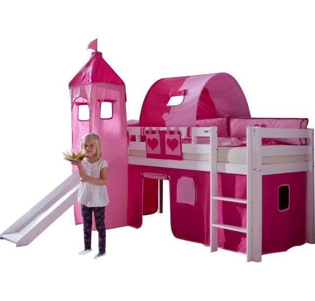 Comforium Lit Mezzanine 90x200 Avec Toboggan Et Tunnel Coloris