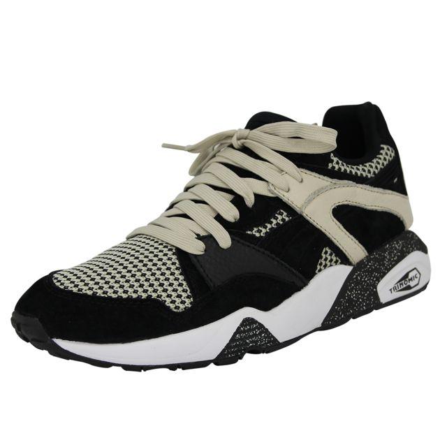 caf3502322 Puma - Puma Blaze Tech Chaussures Mode Sneakers Homme Cuir Suede Noir Beige  Trinomic