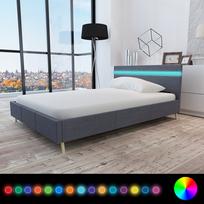 Rocambolesk - Superbe Lit avec revêtement en tissu gris foncé et tête de lit Led 200 x 140cm neuf