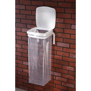 mottez support sac poubelle mural avec couvercle blanc tube 25 b066s pas cher achat. Black Bedroom Furniture Sets. Home Design Ideas