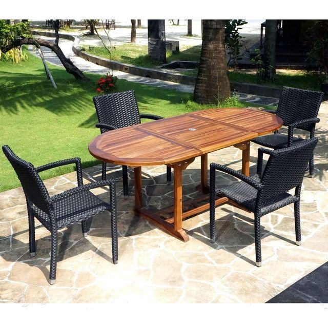 Wood En Stock - ensemble de jardin table teck 120-180 cm et 4 fauteuils résine noire Bois