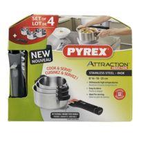 Pyrex - Set 3 Casseroles 16+18+20cm Inox induc.ATTRACTION