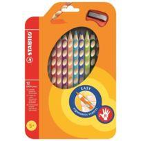 Stabilo - Étui thermoformé de 12 Crayons de couleur Easycolors + 1 Taille-crayon
