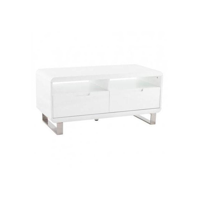 TECHNEB Meuble TV LIFOU en bois laqué blanc