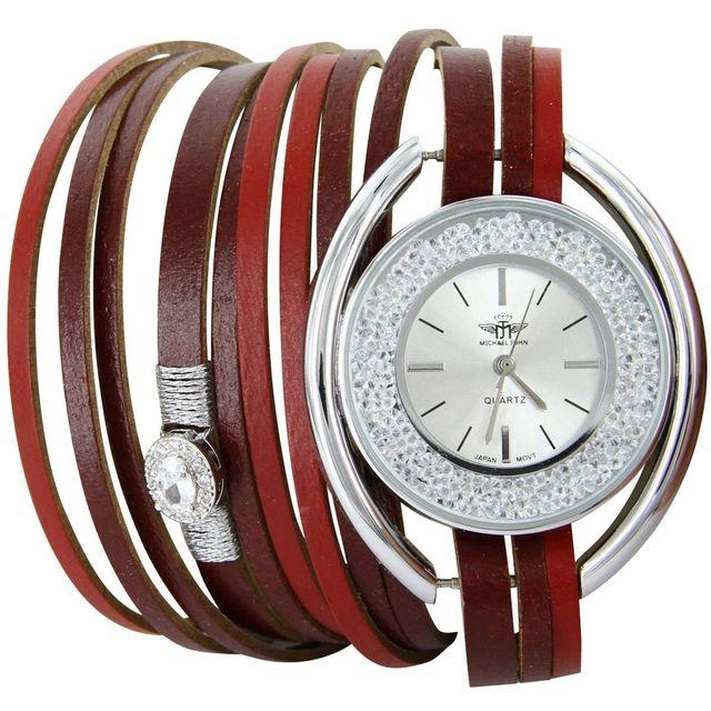 M.johnf - Montre Femme Cuir Rouge Double-Bracelet M. John 617 Achat ... 8959de544ef