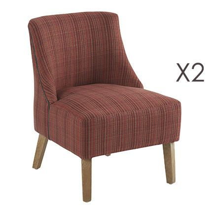 Lot de 2 fauteuils Crawford Rouge Chiné 53x54xH72cm