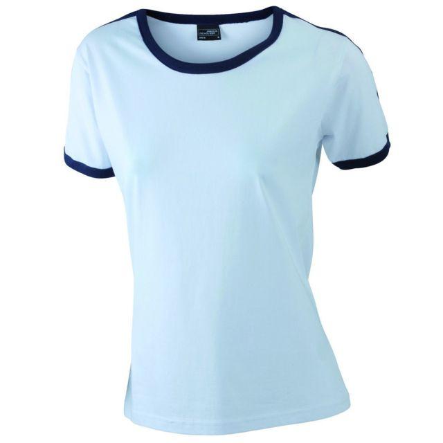 26a9409763ec James   Nicholson - T-shirt bicolore pour femme Jn018 - blanc et bleu marine