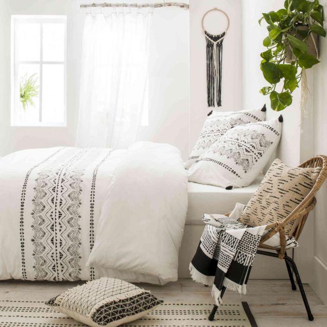 FUTURE HOME Parure De Lit Percale Kambo X Blanc Cm X - Parure de lit pas cher 200x200