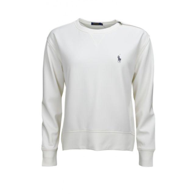 d5ea627a1994 Ralph Lauren - Sweat blanc pour femme - pas cher Achat   Vente Sweat femme  - RueDuCommerce