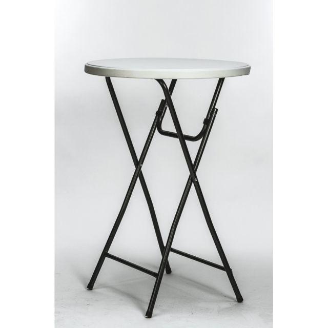 Cross Table bar haute mange debout pliante. H : 110 cm. Ø : 80 cm