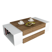 Alphamoebel - Table basse Nora blanc-noyer 31x110x60,6 cm