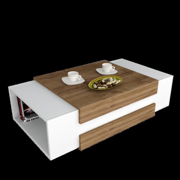 Alphamoebel - Table basse Nora blanc-noyer 31x110x60,6 cm Blanc et noyer - 60.6cm x 110cm x 31cm